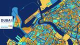 Dubai,United Arab Emirates, Colorful Vector Artmap