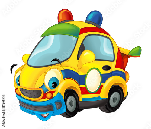 Cartoon sports car smiling and looking - illustration for children - 187609946