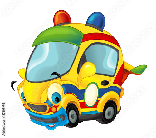 Cartoon sports car smiling and looking - illustration for children - 187609974