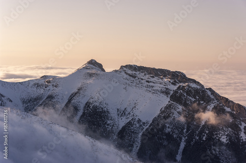 Beautiful winter view of Mount Giewont. Western Tatras. Poland.