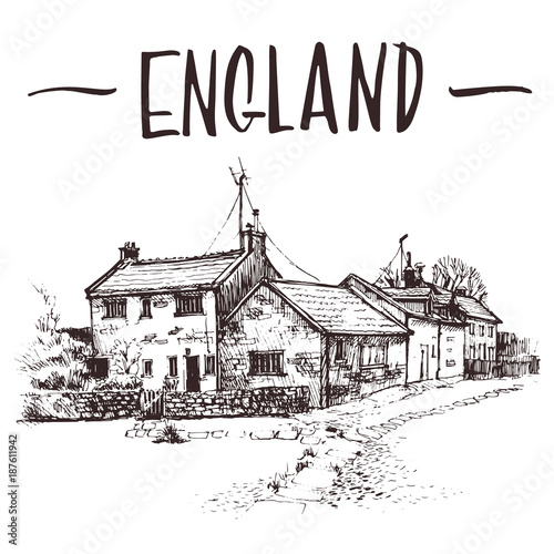 Hand drawn English cottage, townhouse urban sketch. Hand-drawn book illustration, touristic postcard or poster template in vector © Lesya