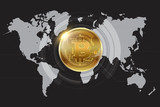 Bitcoin Grey World Map Wallpaper