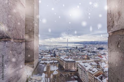 Fotobehang Lavendel Geneva Old Town in winter with snow
