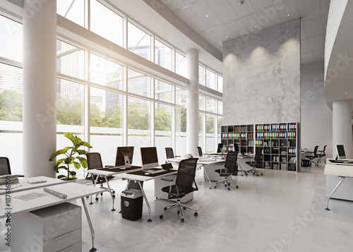 obraz PCV modern office building interior.