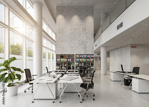 Poster modern office building interior.