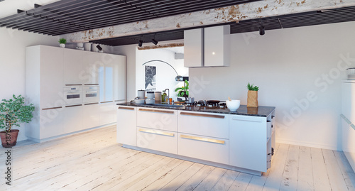 modern kitchen interior. - 187616199