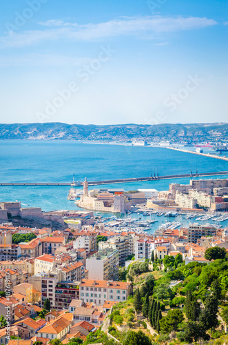 Aluminium Aerial view of Saint Jean Castle and Cathedral de la Major and the old Vieux port in Marseille, France