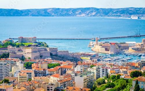 Aluminium Aerial view of beautiful city Marseille, France