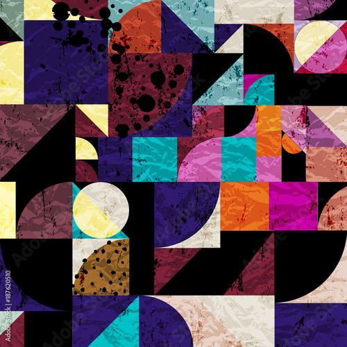 Aluminium Abstract met Penseelstreken abstract background pattern, with circles, dots, squares, strokes and splashes