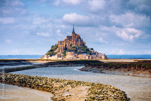 Magnificent Mont Saint Michel cathedral on the island, Normandy, Northern France, Europe