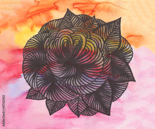 Hand painted watercolor background with floral pattern. - 187626163