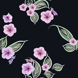 Seamless pattern pink decorative flowers on a black background
