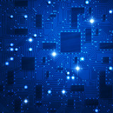 stylized blue circuit board