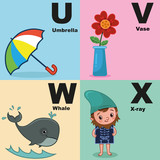 Vector illustration of alphabet kit which include u,v,w,x