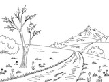 Mountain road graphic black white spring landscape sketch illustration vector - 187628150