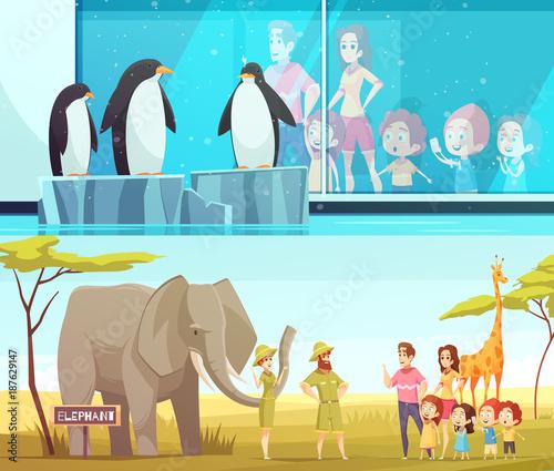 Aluminium Zoo Zoo Animals 2 Cartoon Banners