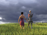 woman and robot on green grass field