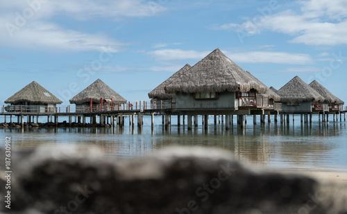 Keuken foto achterwand Tropical strand Houses on stilts on an island