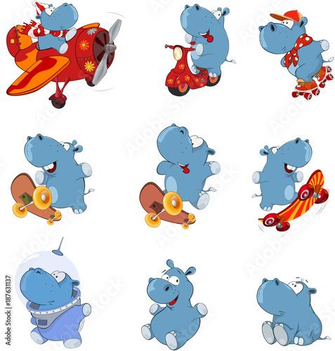 Papiers peints Chambre bébé Set of Cartoon Illustration. Cute Hippo for you Design