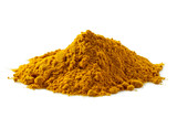 A pile of turmeric powder isolated on white. - 187633199