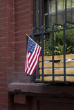 American flag on traditional buiding in New York City - 187634122