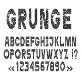 Grunge alphabet letters and numbers,vector set
