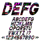 Slanting bright alphabet letters, glitch art style,vector set
