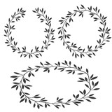 Vector set of silhouettes vintage floral frames, laurel wreaths