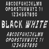 White Grunge alphabet letters and numbers,vector set,chalk style