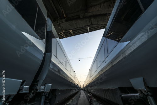 Wiev between two passenger trains standing under a bridge