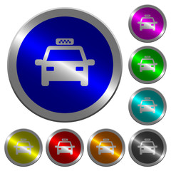 Taxi car luminous coin-like round color buttons