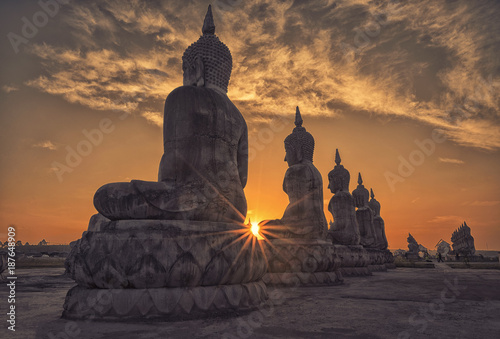 Poster Boeddha The field of big Buddha image in evening light.