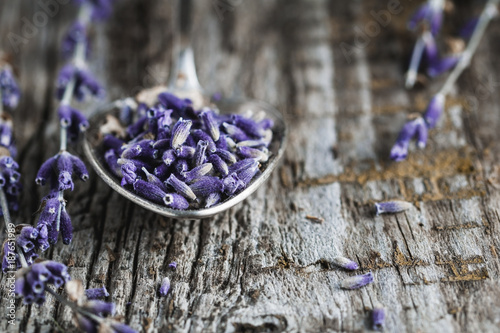 Close-up of the spoon with dry lavender. - 187651989