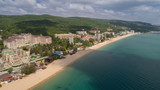 Aerial view of the beach and hotels in Golden Sands, Zlatni Piasaci. Popular summer resort near Varna, Bulgaria - 187653169
