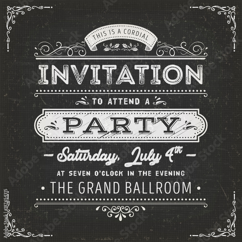 Aluminium Vintage Poster Vintage Party Invitation Card On Chalkboard