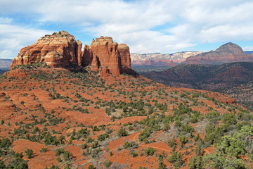 The red rock mountains in the mountain bike area of Sedona, Arizona, USA