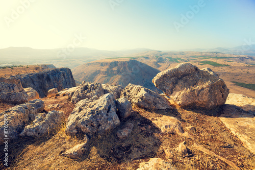 View from Arbel cliff. Galilee, Israel