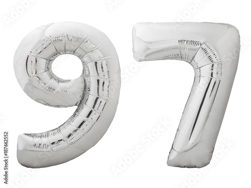Poster Silver number 97 ninety seven made of inflatable balloon isolated on white