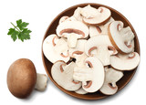 Fresh champignon mushrooms isolated on white background. top view - 187667389
