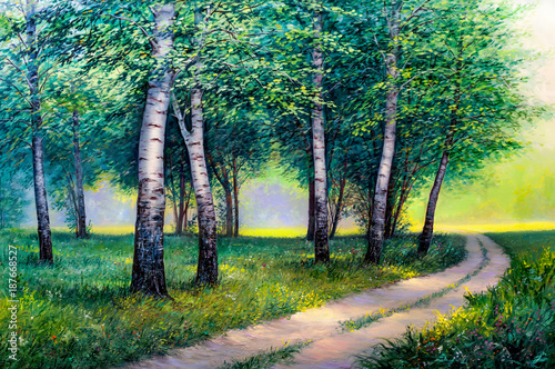 Summer forest road, oil painting on canvas - 187668527