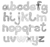 A funny alphabet of uppercase letters in black color for make up words and phrases and then paint them. - 187669929