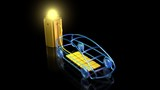3d render of electric car charging from large glowing battery outlet. Front view - 187671381