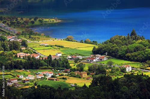 Fridge magnet Sete Cidades landscape, Sao Miguel Island, Azores, Europe