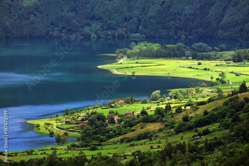 Fotobehang Natuur Sete Cidades landscape, Sao Miguel Island, Azores, Europe