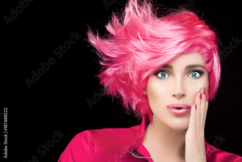 Foto op Canvas Kapsalon Fashion model girl with stylish dyed pink hair