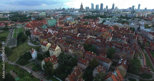 Panoramic view of Old Town Warsaw in a summer day n Poland. Aerial view.