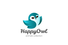 Flying Owl Logo Design  Template Funny Bird  Icon Sticker