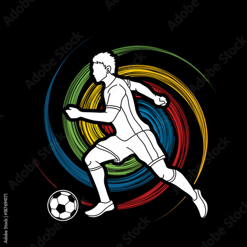 Staande foto Graffiti Soccer player running with soccer ball action designed on spin wheel background graphic vector