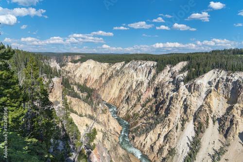 Foto op Aluminium Khaki White Water River Flowint through Mountain Gorge