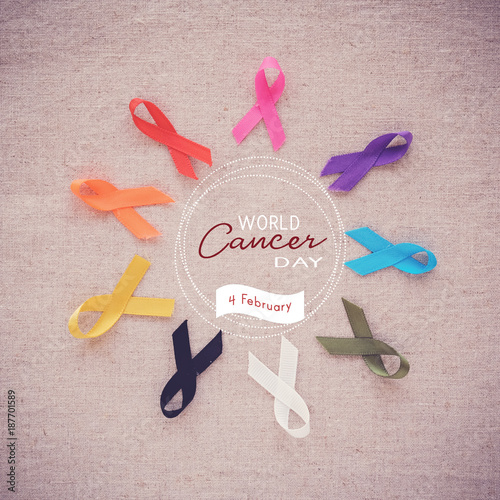 Foto Murales colorful ribbons, cancer awareness, World cancer day